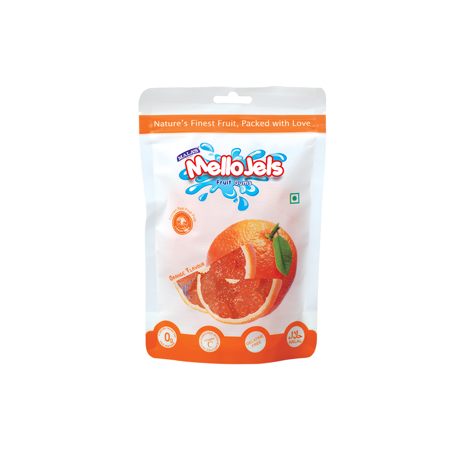 Orange Mellojels Gums 150 gm Zip Pouch