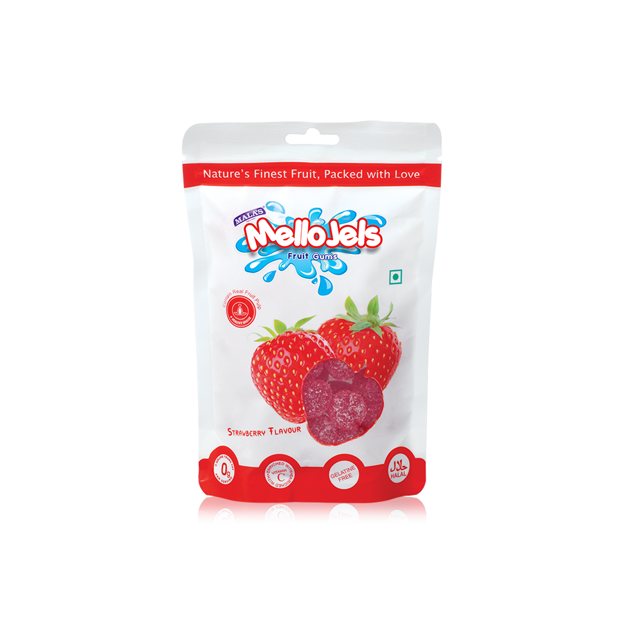 Strawberry Mellojels Gums 150 gm Zip Pouch
